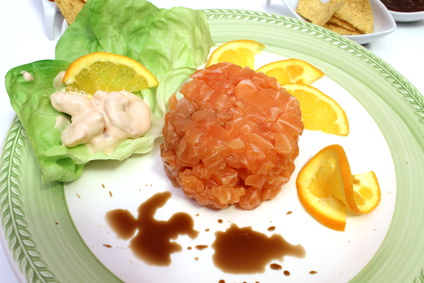 tartare di salmone con aloe vera